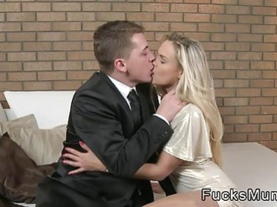 Tight blonde Milf in stockings fucks