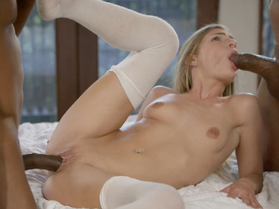 Sydney Cole in her first hardcore interracial threesome