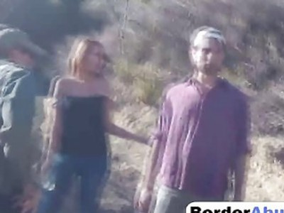 Huge dick border officer stole brunette hikers juicy pussy