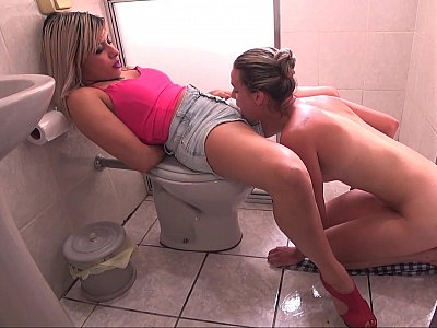 Lesbians eating pussy and ass in the bathroom