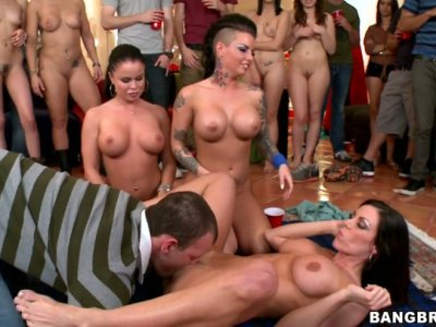 A pack of guys eat pussies of Nikki Delano, Christy Mack and Kendra Lust