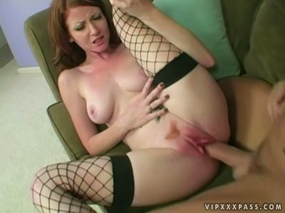 Trashy redhead Nikki Rhodes gets fucked hard in various positions