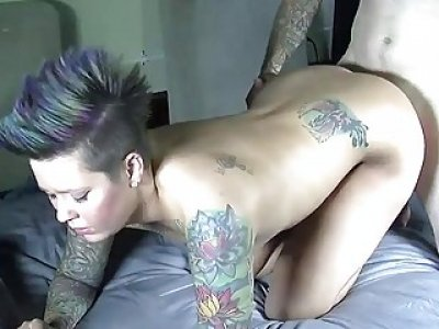 Big booty tattooed gal has 69 action and rides cock