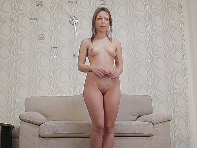 Virgin girl masturbates during her casting