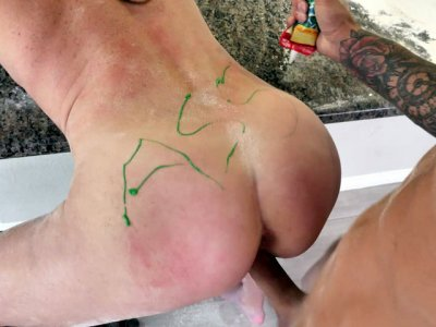Sofie Marie leaned on the bar stool and got her pussy railed