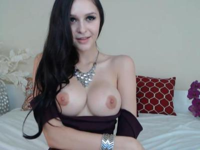 Hottest babe with huge perfect tits riding a dildo